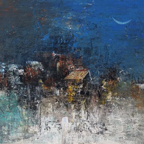 village in blue, 12 x 11 inch, m. singh,12x11inch,canvas,paintings,abstract paintings,paintings for dining room,paintings for living room,paintings for bedroom,paintings for office,paintings for bathroom,paintings for kids room,paintings for hotel,paintings for school,paintings for hospital,acrylic color,GAL0537744454