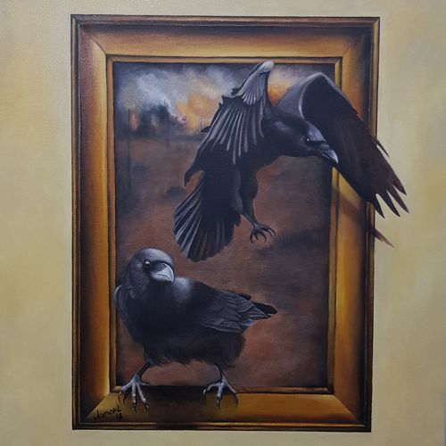 unexpected guest , 24 x 30 inch, janakiraman b,24x30inch,canvas,paintings,animal paintings,oil color,GAL054444456
