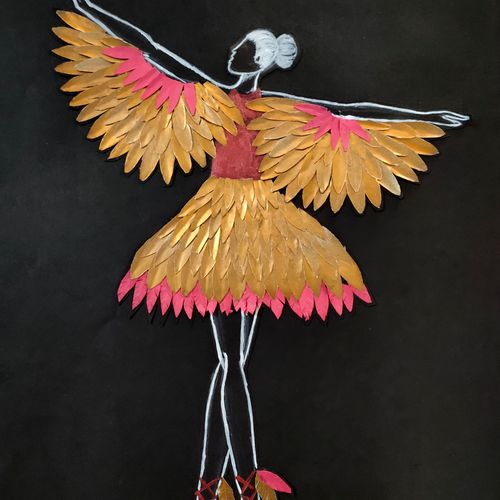 the winged ballet, 11 x 15 inch, kanchi jain,11x15inch,ivory sheet,wall hangings,acrylic color,paper,GAL03122044458