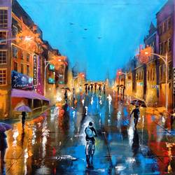 rainy day 4, 34 x 30 inch, arjun das,cityscape paintings,paintings for bedroom,canvas,acrylic color,34x30inch,GAL01124446