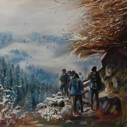 trekking at parvati valley, 24 x 24 inch, kunal pal,24x24inch,canvas,paintings,figurative paintings,landscape paintings,modern art paintings,conceptual paintings,nature paintings | scenery paintings,expressionism paintings,impressionist paintings,realism paintings,paintings for dining room,paintings for living room,paintings for bedroom,paintings for office,paintings for bathroom,paintings for kids room,paintings for hotel,paintings for kitchen,paintings for school,paintings for hospital,oil color,GAL0905444462