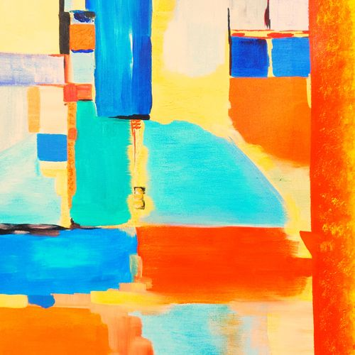 on the block, 36 x 36 inch, rakesh dogra,36x36inch,canvas,paintings,abstract paintings,paintings for dining room,paintings for living room,paintings for bedroom,paintings for kids room,paintings for hotel,paintings for school,paintings for hospital,acrylic color,GAL0896844480