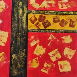 red and gold, 36 x 32 inch, rakesh dogra,36x32inch,canvas,paintings,abstract paintings,paintings for dining room,paintings for living room,paintings for bedroom,paintings for office,paintings for bathroom,paintings for kids room,paintings for hotel,paintings for kitchen,paintings for school,paintings for hospital,acrylic color,GAL0896844483