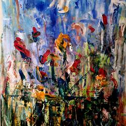 growing, 16 x 20 inch, suchitra lata,16x20inch,canvas,paintings,abstract paintings,flower paintings,landscape paintings,modern art paintings,nature paintings   scenery paintings,abstract expressionism paintings,expressionism paintings,paintings for dining room,paintings for living room,paintings for bedroom,paintings for hotel,paintings for kitchen,acrylic color,GAL03140344488