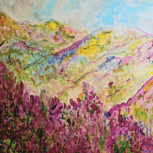 call of the hills, 16 x 20 inch, suchitra lata,16x20inch,canvas,paintings,abstract paintings,landscape paintings,nature paintings | scenery paintings,impressionist paintings,contemporary paintings,paintings for dining room,paintings for living room,paintings for bedroom,paintings for office,paintings for hotel,paintings for hospital,acrylic color,GAL03140344491