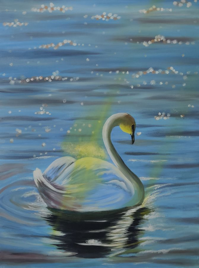 Swan and the sunrays oil painting original ready to hang