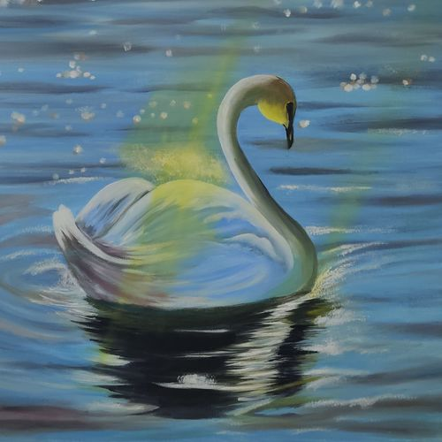 swan and the sunrays oil painting  original ready to hang, 18 x 24 inch, richa sonali,18x24inch,canvas,paintings,landscape paintings,modern art paintings,still life paintings,nature paintings   scenery paintings,paintings for bedroom,paintings for office,paintings for bathroom,paintings for kids room,paintings for hotel,paintings for kitchen,oil color,GAL03119144493