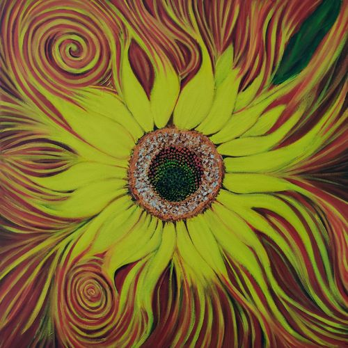 sunflower of life, original oil painting handmade ready to hang, 24 x 24 inch, richa sonali,24x24inch,canvas,paintings,abstract paintings,flower paintings,modern art paintings,paintings for dining room,paintings for bedroom,paintings for office,paintings for bathroom,paintings for kids room,paintings for hotel,paintings for kitchen,paintings for school,paintings for hospital,oil color,GAL03119144496
