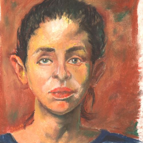 teen's thoughts, 10 x 8 inch, anna  jovita ,portrait paintings,thick paper,pastel color,10x8inch,GAL0238445