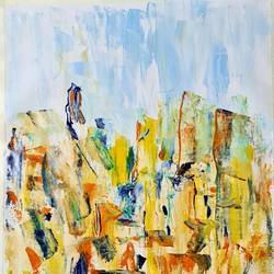sun city, 16 x 20 inch, suchitra lata,16x20inch,canvas,paintings,abstract paintings,cityscape paintings,modern art paintings,abstract expressionism paintings,expressionism paintings,contemporary paintings,paintings for dining room,paintings for living room,paintings for bedroom,paintings for office,paintings for hotel,acrylic color,GAL03140344501