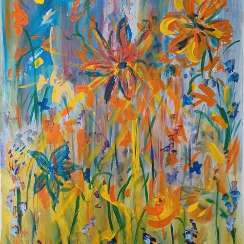 summer fields, 14 x 20 inch, suchitra lata,14x20inch,canvas,paintings,abstract paintings,flower paintings,nature paintings   scenery paintings,expressionism paintings,contemporary paintings,paintings for dining room,paintings for living room,paintings for bedroom,acrylic color,GAL03140344507