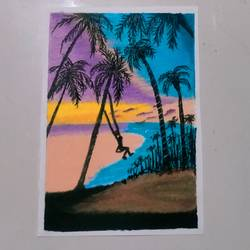 sunset seaside scenery, 11 x 10 inch, noemia fernandes,11x10inch,thick paper,paintings,nature paintings   scenery paintings,pastel color,GAL02780944511