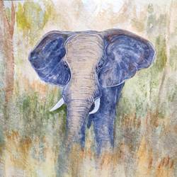 elephant, 18 x 14 inch, ram mohan e,18x14inch,paper,paintings,wildlife paintings,landscape paintings,nature paintings | scenery paintings,impressionist paintings,animal paintings,elephant paintings,paintings for dining room,paintings for living room,paintings for office,paintings for kids room,paintings for hotel,paintings for school,watercolor,GAL069744518