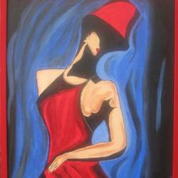 classy lady, 21 x 17 inch, namrata  gupta,art deco paintings,paintings for living room,canvas,acrylic color,21x17inch,GAL015674452