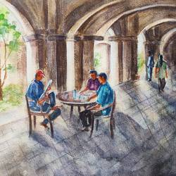 cityscape, 15 x 11 inch, ram mohan e,15x11inch,paper,paintings,cityscape paintings,landscape paintings,nature paintings | scenery paintings,paintings for dining room,paintings for living room,paintings for office,paintings for kids room,paintings for hotel,paintings for school,watercolor,GAL069744527