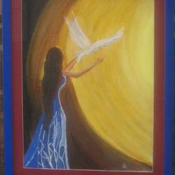 peace, 15 x 19 inch, namrata  gupta,art deco paintings,paintings for living room,canvas,acrylic color,15x19inch,GAL015674453