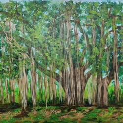 grand old banyan tree, 22 x 18 inch, rakesh dogra,22x18inch,canvas,paintings,nature paintings   scenery paintings,paintings for dining room,paintings for living room,paintings for bedroom,paintings for office,paintings for bathroom,paintings for kids room,paintings for hotel,paintings for kitchen,paintings for school,paintings for hospital,acrylic color,GAL0896844534