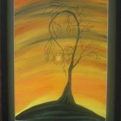 tree and sunset, 15 x 19 inch, namrata  gupta,nature paintings,paintings for living room,canvas,acrylic color,15x19inch,GAL015674454Nature,environment,Beauty,scenery,greenery