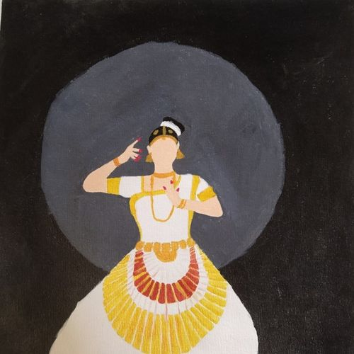 dancing lady, 14 x 14 inch, geethanjali s,14x14inch,canvas,paintings,abstract paintings,figurative paintings,folk art paintings,paintings for dining room,paintings for living room,paintings for bedroom,paintings for office,paintings for kids room,paintings for hotel,paintings for kitchen,paintings for school,paintings for hospital,acrylic color,GAL03168944548