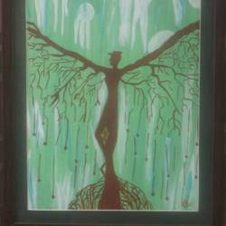 angel tree, 15 x 19 inch, namrata  gupta,nature paintings,paintings for living room,canvas,acrylic color,15x19inch,GAL015674455Nature,environment,Beauty,scenery,greenery