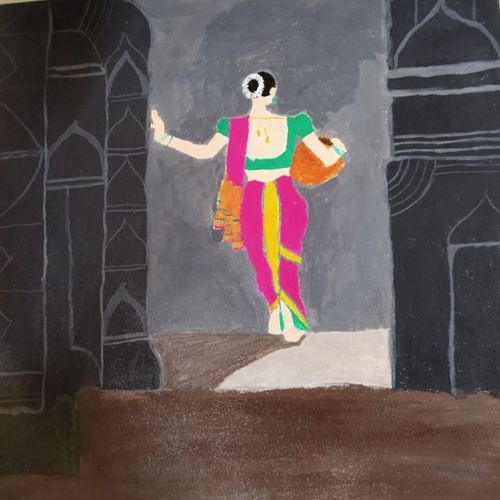 lady carrying a pot, 16 x 16 inch, geethanjali s,16x16inch,canvas,abstract paintings,figurative paintings,folk art paintings,paintings for dining room,paintings for living room,paintings for bedroom,paintings for office,paintings for hotel,paintings for kitchen,paintings for hospital,paintings for dining room,paintings for living room,paintings for bedroom,paintings for office,paintings for hotel,paintings for kitchen,paintings for hospital,acrylic color,GAL03168944550