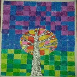 warm & cool colour tree, 12 x 17 inch, ruchi  singh ,12x17inch,thick paper,paintings,nature paintings   scenery paintings,poster color,watercolor,GAL03069844554