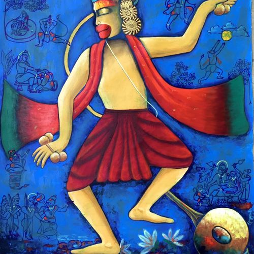 dance of lord hanuman, 30 x 36 inch, kangana vohra,30x36inch,canvas,paintings,conceptual paintings,religious paintings,portrait paintings,illustration paintings,portraiture,contemporary paintings,paintings for dining room,paintings for living room,paintings for bedroom,paintings for office,paintings for hotel,paintings for kitchen,paintings for school,paintings for hospital,acrylic color,charcoal,ink color,GAL0725844568
