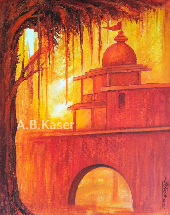 a temple, 18 x 22 inch, a.b.  kaser,landscape paintings,paintings for living room,religious paintings,vertical,canvas,acrylic color,18x22inch,GAL06364457