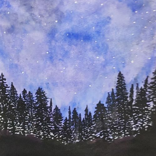 starry forest night, 8 x 11 inch, vanitha raj k c,8x11inch,drawing paper,paintings,landscape paintings,nature paintings | scenery paintings,illustration paintings,paintings for dining room,paintings for living room,paintings for bedroom,paintings for office,paintings for bathroom,paintings for kids room,paintings for hotel,paintings for kitchen,paintings for school,paintings for hospital,watercolor,GAL03168844577