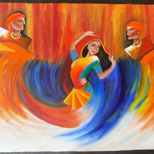 colorful celebration| dancing woman, 18 x 14 inch, shanvi karthi,18x14inch,canvas board,abstract paintings,modern art paintings,paintings for dining room,paintings for living room,paintings for bedroom,paintings for office,paintings for school,paintings for dining room,paintings for living room,paintings for bedroom,paintings for office,paintings for school,acrylic color,GAL03135944582