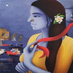 elakshi series of woman - red ribbon, 18 x 24 inch, anjali  surana,18x24inch,canvas,paintings,figurative paintings,paintings for dining room,paintings for living room,paintings for bedroom,paintings for office,paintings for bathroom,paintings for kids room,paintings for hotel,paintings for kitchen,paintings for school,paintings for hospital,acrylic color,GAL03088144584
