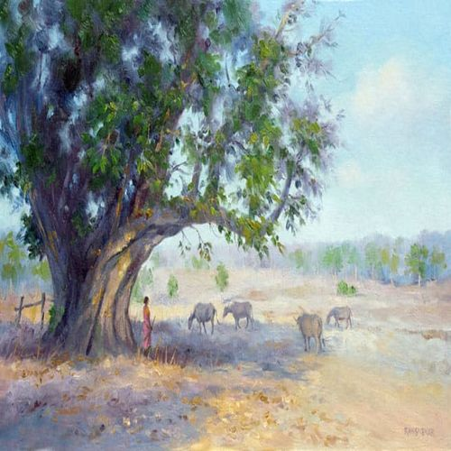 Morning landscape with cattle