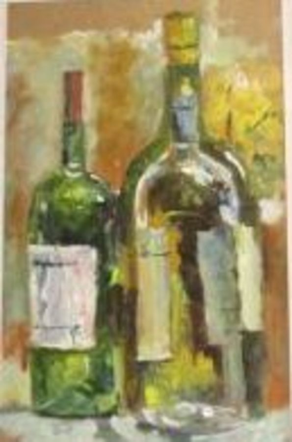 bottles, 14 x 10 inch, anna  jovita ,still life paintings,paintings for dining room,hardboard,acrylic color,14x10inch,GAL0238446