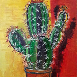 potted cactus, 5 x 7 inch, rambling tiger,abstract paintings,paintings for dining room,canvas,oil paint,5x7inch,GAL08864460