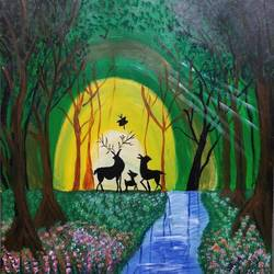 reindeer family in the forest, 14 x 13 inch, shruti kulkarni,14x13inch,canvas,wildlife paintings,nature paintings   scenery paintings,animal paintings,acrylic color,GAL03170044604
