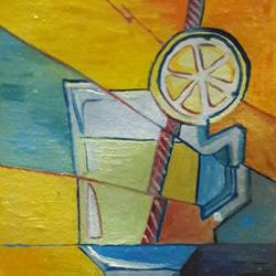 lemonade, 5 x 7 inch, rambling tiger,cubist paintings,paintings for bedroom,canvas,oil paint,5x7inch,GAL08864461