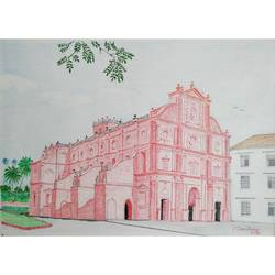 basilica of bom jesus at old goa, 12 x 8 inch, sandeep naik,12x8inch,cartridge paper,drawings,illustration drawings,realism drawings,paintings for dining room,paintings for living room,paintings for office,paintings for hotel,paintings for school,paintings for hospital,pencil color,GAL03189844633