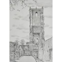remains of the st augustine tower, old goa, 8 x 12 inch, sandeep naik,8x12inch,cartridge paper,drawings,illustration drawings,realism drawings,paintings for dining room,paintings for living room,paintings for office,paintings for hotel,paintings for school,paintings for hospital,pencil color,graphite pencil,GAL03189844636