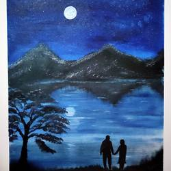couple watching lake on full moon view, 16 x 24 inch, rashmi rani,16x24inch,canvas,paintings,nature paintings | scenery paintings,realism paintings,paintings for living room,fabric,oil color,GAL03163544638