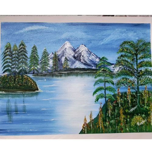 landscape of kashmir, 16 x 24 inch, rashmi rani,16x24inch,canvas,landscape paintings,nature paintings | scenery paintings,paintings for living room,paintings for living room,fabric,oil color,GAL03163544639