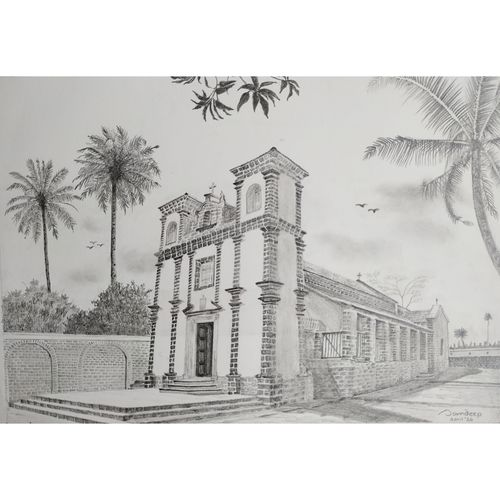 chapel of st. catherine  located at old goa , 12 x 8 inch, sandeep naik,12x8inch,cartridge paper,drawings,illustration drawings,realism drawings,paintings for dining room,paintings for living room,paintings for hotel,paintings for school,paintings for hospital,graphite pencil,GAL03189844641