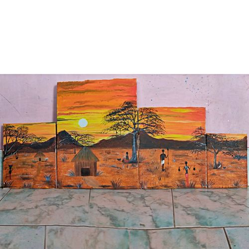 village life , 12 x 16 inch, rashmi rani,12x16inch,canvas board,paintings,still life paintings,abstract expressionism paintings,paintings for living room,paintings for office,fabric,oil color,GAL03163544646