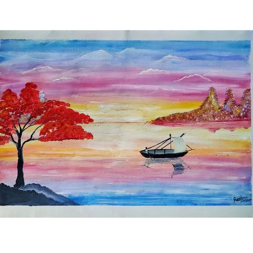 a boat sailing in the river, 20 x 14 inch, rashmi rani,20x14inch,paper,paintings,landscape paintings,nature paintings | scenery paintings,paintings for dining room,paintings for living room,paintings for office,oil color,paper,GAL03163544647