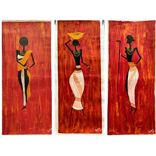 different aspect of feminism, 9 x 20 inch, rashmi rani,9x20inch,paper,paintings,folk art paintings,multi piece paintings,still life paintings,abstract expressionism paintings,paintings for dining room,paintings for living room,paintings for bedroom,paintings for office,oil color,paper,GAL03163544648