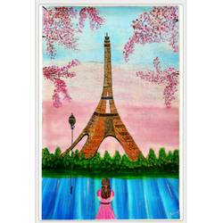 a girl watching eiffel tower, 14 x 20 inch, rashmi rani,14x20inch,paper,paintings,still life paintings,street art,paintings for dining room,paintings for living room,paintings for bedroom,paintings for office,oil color,paper,GAL03163544649