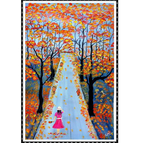 a girl in garden, 14 x 20 inch, rashmi rani,14x20inch,paper,paintings,flower paintings,cityscape paintings,landscape paintings,paintings for dining room,paintings for living room,paintings for bedroom,paintings for office,oil color,paper,GAL03163544651