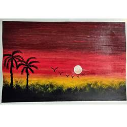 evening beauty, 20 x 14 inch, rashmi rani,20x14inch,paper,paintings,landscape paintings,nature paintings | scenery paintings,paintings for dining room,paintings for living room,paintings for bedroom,paintings for office,oil color,paper,GAL03163544661