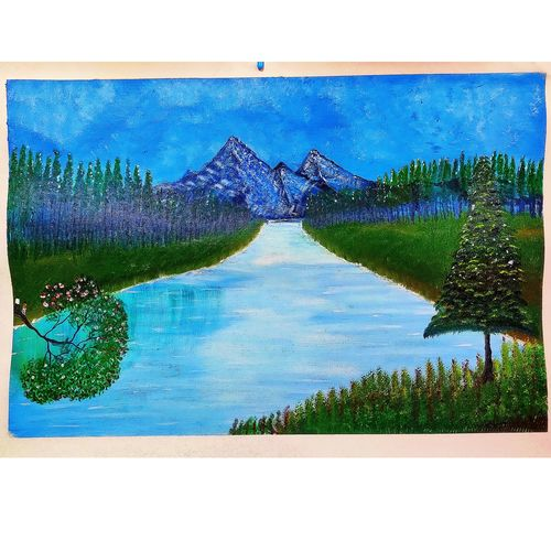 river flowing from mountain, 20 x 14 inch, rashmi rani,20x14inch,paper,paintings,landscape paintings,nature paintings | scenery paintings,paintings for dining room,paintings for living room,paintings for bedroom,paintings for office,oil color,paper,GAL03163544663