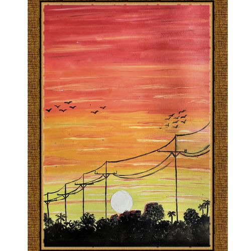 evening beauty, 10 x 14 inch, rashmi rani,10x14inch,paper,paintings,landscape paintings,nature paintings | scenery paintings,paintings for dining room,paintings for living room,paintings for bedroom,paintings for office,oil color,paper,GAL03163544666