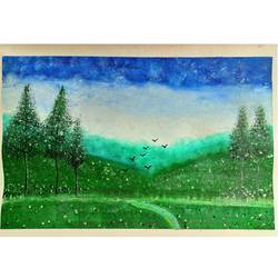 foggy view of lush green valley, 10 x 13 inch, rashmi rani,10x13inch,paper,paintings,landscape paintings,paintings for dining room,paintings for living room,paintings for bedroom,paintings for office,oil color,paper,GAL03163544668